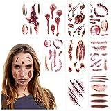 Halloween Tatuajes de Cicatrices Temporales 45pcs Etiqueta de Tatuajes Cicatrices Pegatinas Temporal de Cicatrices para Cosplay Maquillaje Y Fiesta de Halloween (9 estilos)