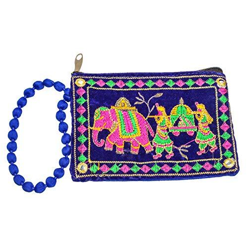 Divine Products India Indian Handmade,Cotton Velvet Pouch, Money Pouch, Hand Purse,YKK Zip,Birthday Gift,Vintage Hand Zari Embroidered Women Purse Cotton Fabric