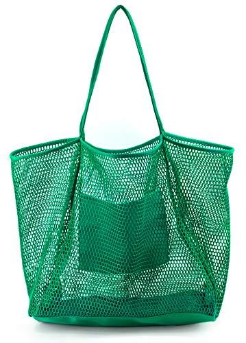 Mesh Beach Tote Womens Shoulder Handbag (Green)