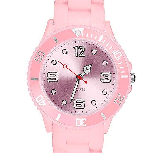 Taffstyle Farbige Sportuhr Armbanduhr Silikon Sport Watch Damen Herren Kinder Analog Quarz Uhr 34mm Rosa