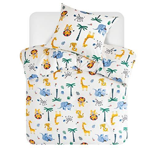 Bedsure Bettwäsche Kinder 135x200 Kinderbettwäsche jungen 135 x 200 cm, Bettwäsche Tier Muster mit Reißverschluss, Safari Baby Bettwäsche Set aus Mikrofaser mit 80x80 cm Kissenbezug