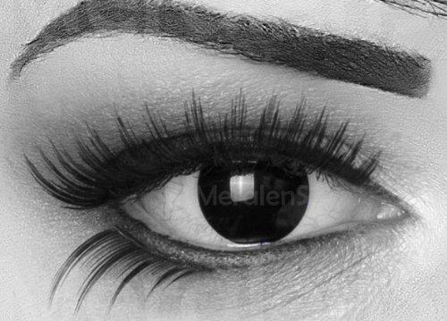 EIN PAAR Farbige Crazy Fun 14 mm 'Blind Black' Kontaktlinsen mit gratis Linsenbehälter und Kombilösung. Perfekt für Fasching!