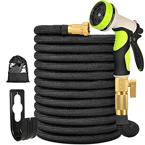 """TOCZIM 50FT Expandable Garden Hose - Flexible Hose with Extra Strength Fabric 4-Layers Latex 3/4"""" Solid Brass Connectors 9 Function Spray Nozzle - Easy Storage No Kink Lightweight Water Hose"""