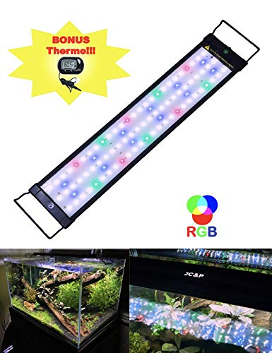 JC&P Full Spectrum Aquarium LED Light with Extendable Brackets (20'-28' (50-72 cm) with Red, Green, Blue and White LEDs Aquatic Fish Tank Light