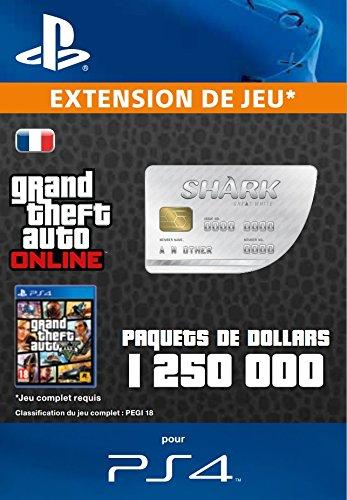 Grand Theft Auto Online   GTA V Great White Shark Cash Card   1,250,000 GTA-Dollars   Code Jeu PS4 - Compte français