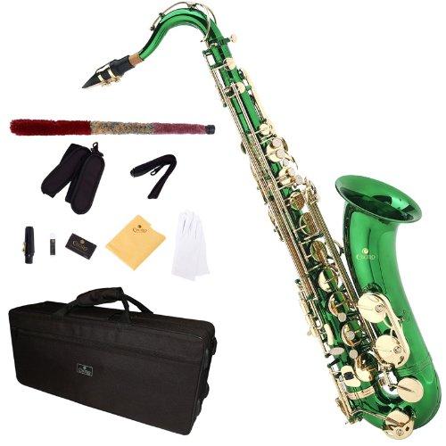 Cecilio TS-280GL - Kit de saxofón tenor (para nivel principiante), color verde