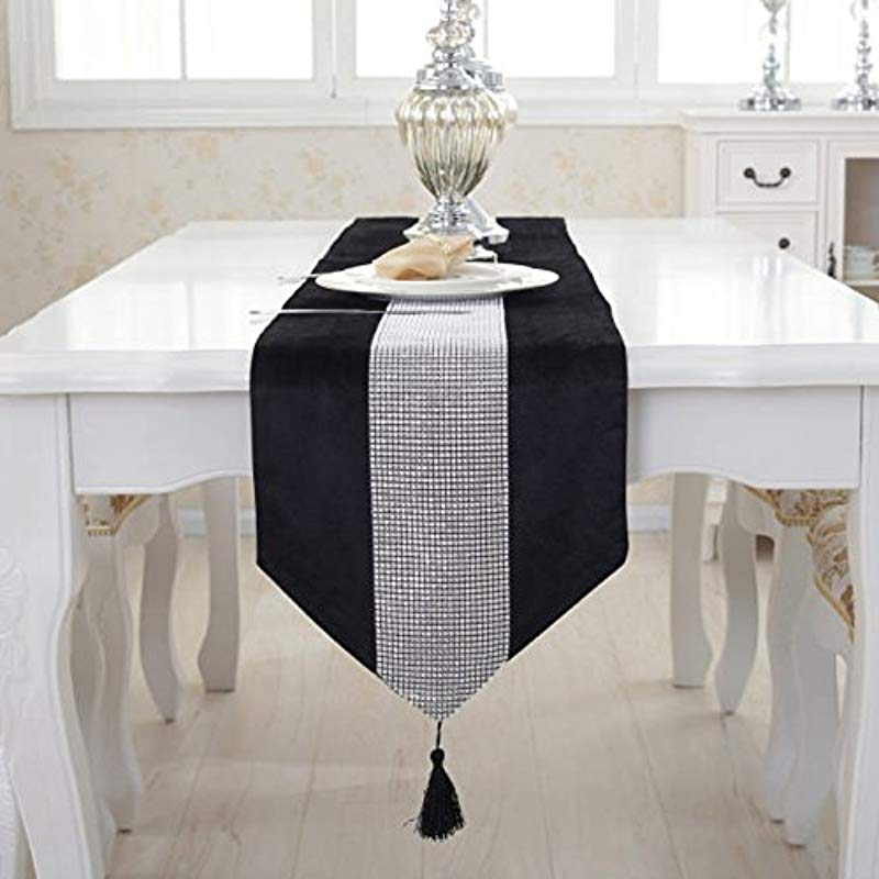 Lafunda Luxury Wedding Tassel Western Modern Sequined Rhinestone Stylish Atmosphere Table Runner Shimmer Silver Sequin Fabric Classic Diamond Strip Mat Decoration For Party Banquet Home D Cor Black
