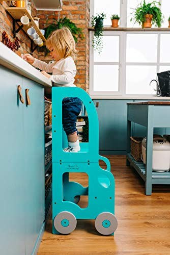 Torre de Aprendizaje, Escritorio y Taburete Montessori (Blanca)