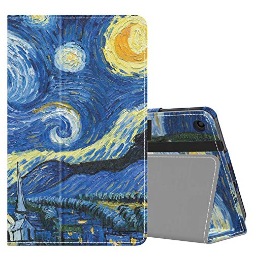 MoKo Funda Compatible con Amazon Kindle Fire 7 Tablet (9th Generation - 2019 Release), Ultra Slim Función de Soporte Plegable Smart Cover Stand Case - Noche Estrellada