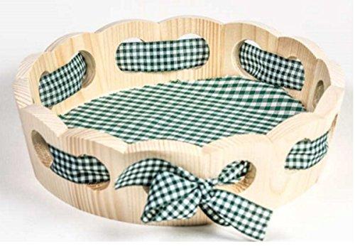 Brotkorb aus Holz, groß, mit grün/weißer Stoffeinlage