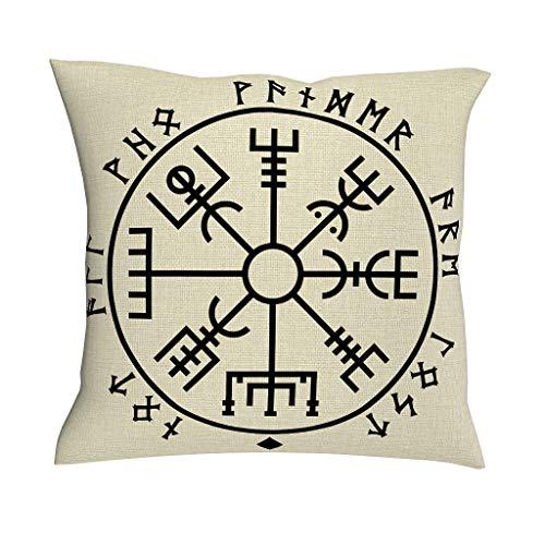HoodBA Kissenbezug, Motiv Keltische Vegvísir skandinavische Runen, Totemdruck, Wikingerkunst, nordische Mythologie, Futhark-Runen, Tattoo-Kissenbezug, Baumwolle, Leinen, quadratisch, weiß, 18x18inch