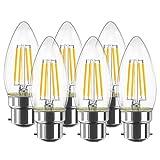 LVWIT 4W C35 B22 Ampoule LED à Filament, Bougie Ampoule, 2700K Blanc Chaud, 470lm 80Ra, Non Dimmable, Lot de 6