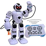 Hand Gesture command recognition (Motion Control) Walks forward, Back, Turns Left, Right and Dances to popular music. Play Tunes, Songs, Tells Stories and LED Flashing EYES Meet new robotic friend, DJ ROBO! Programmable Walking, Dancing Musical R/C R...
