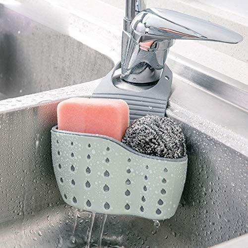 Kitchen Sink Shelf Soap Sponge Drain Rack Holder Double Decker Hanging Basket Storage Suction Cup Kitchen Organizer Sink Accessories Wash Dropshipping, 1Pcs (Green)