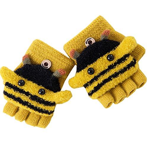 Artone Biene Kinder Warm Stricken Halbfinger Thermo Isolierung Radfahren Winter Handschuhe mit Fäustlinge Klappe Gelb