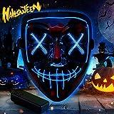 🎃【MASCHERA DI HALLOWEEN LED】Maschera di halloween ci sono tre modalità di utilizzo: luce fissa, intermittente lenta e intermittente veloce. A ogni pressione del tasto sul telecomando equivale una modalità. 🎃【DESIGN COMFORT】:La halloween LED maschere ...