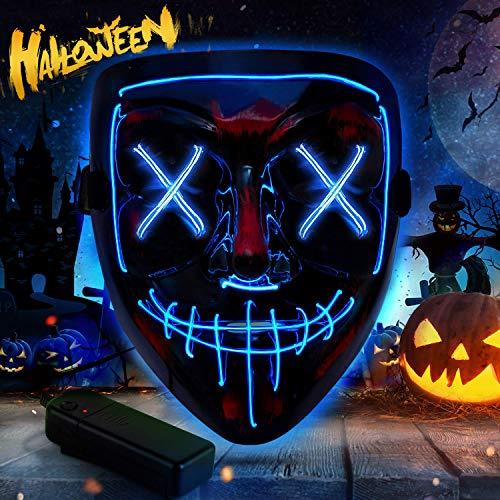 VZATT Halloween LED Maschera,Halloween Costume Supplies Maschere Cosplay LED Grimace Horror Glowing Mask Maschere da Festa Halloween Festa Costume Cosplay Decorazione