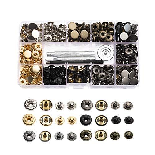 Juego de 120 cierres de cobre a presión, 6 colores, botones de presión, botones con 4 herramientas de instalación, broches de cuero para manualidades de cuero, manualidades (12,5 mm)