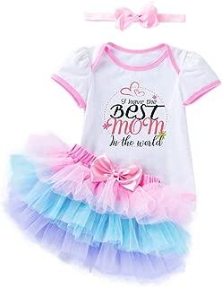 Baby Girls Outfit Set - Best Mom Super Dad Onesie Baby Shower Birthday Gift