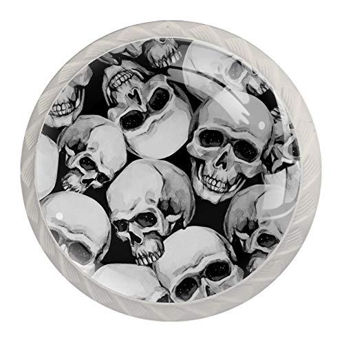 Z&Q Cráneo blanco negro Juego de 4 tiradores modern de Base de Plastico & Cristal, con distintos diseños, ideales para puertas, armarios, cajones y cómodas 35mm