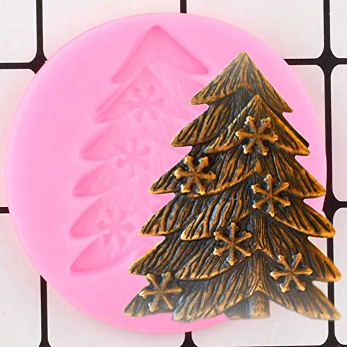 JLZK Pine Tree Snowflake Silicone Molds Christmas Cupcake Topper Cake Decorating Tools Candy Polymer Clay Chocolate Moulds