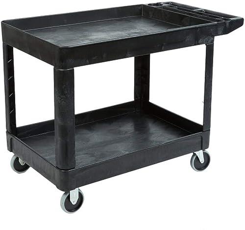Rubbermaid Commercial Products 2-Shelf Utility/Service Cart, Medium, Lipped Shelves, Ergonomic Handle, 500 Lbs. Capac...