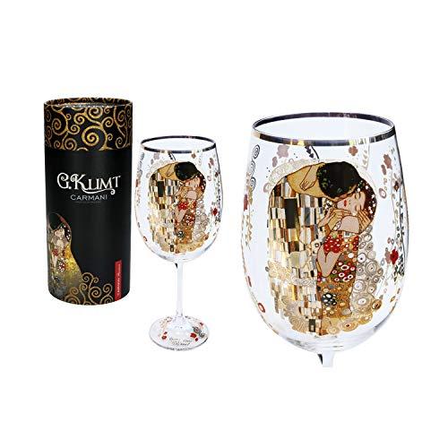 CARMANI - Fancy wijnglas versierd met Gustav Klimt 'The Kiss' schilderij 640 ml
