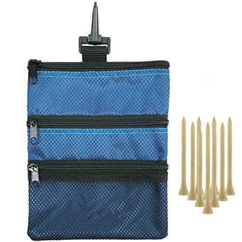 Amy Sport Golftasche Tasche Tasche mit Clip Reißverschluss Haken an Tasche, mit 10 Stück Holz Golf Tees Value Set, Duable Nylon Wertsachen Halter für Männer und Frauen, blau