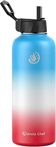 high quality Umite 2021 Chef Sports Water Bottle with New Wide Handle Straw Lid, Vacuum Insulated Stainless Steel Thermo outlet sale Mug, 40 oz Double Walled Wide Mouth Water Bottle,Leak Proof, Sweat Free(Sorbet) outlet sale