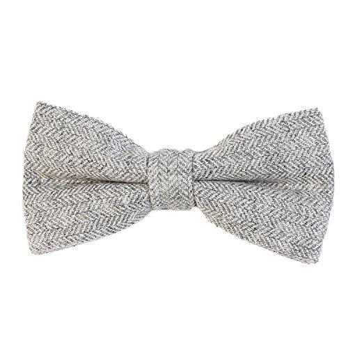 DonDon Pajarita de algodón para hombre 12 x 6 cm de tweed look ajustable y lista para usar - gris claro diseño de espiga