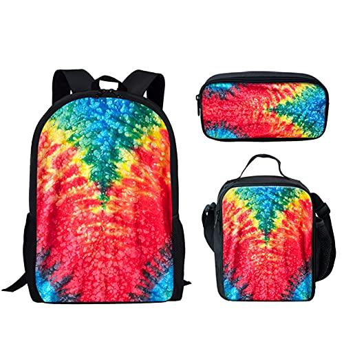 Howilath Mochilas escolares para adolescentes, mochila de 17 pulgadas, juego de 3 unidades, ligero, bolsa de escuela, bolsa de almuerzo para escuela primaria, Tie-dye Verde Rojo (Multicolor) - CGK