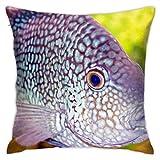 Affordable shop Funda de almohada decorativa para el hogar, diseño de peces de acuario, para regalo, hogar, sofá, cama, coche, 45,72 x 45,72 cm