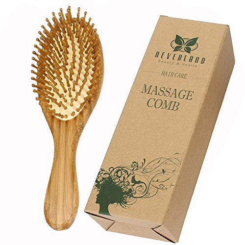 Neverland Wooden Hair Brush Anti Static Detangling Massage Cushioned Bristle Comb
