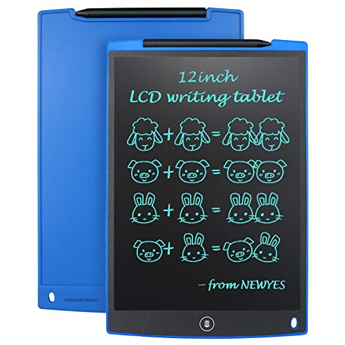 """NEWYES 12"""" Tableta de Escritura LCD, Tableta gráfica, Ideal para hogar, Escuela u Oficina. Pilas Incluidas y 2 Imanes para la Nevera -Azul"""