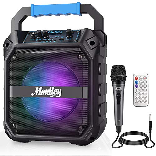 "Moukey Karaoke Machine, 6.5"" Portable Microphone with Lights, Bluetooth Mic System with Wired Microphone, Rechargeable Karaoke Machine for Adults with Remote Control, FM Radio, Supports TF Card/USB"