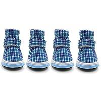 OMEM ドッグブーツ かわいい格子犬の靴 防寒 秋冬用 ペットシューズ 5サイズ選べる (XL,ブルー)