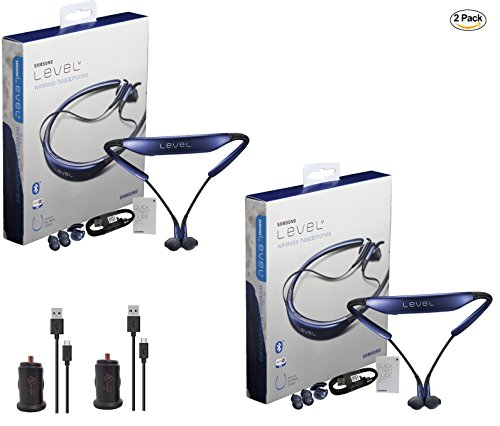 2x Pack - Samsung Level U Neckband Bluetooth with 2x Universal 1Amp Car Charger - (Retail Packing)