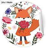 24 Blumen Glückwunsch Aufkleber mit Fuchs Mädchen die Blumen bringt, MATTE Papier Sticker für...