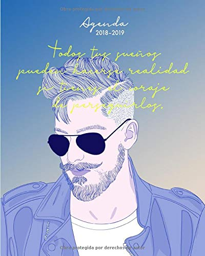 Agenda 2018-2019: Agenda semanal, agosto 2018 - julio 2019, Hombre con barba (Regalo perfecto para amigo o amiga)