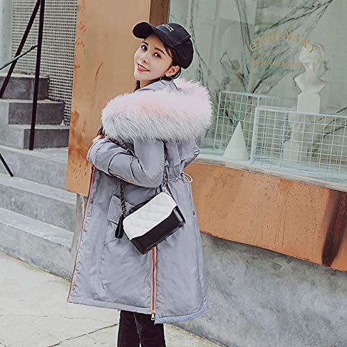 EIJFKNC Daunenjacke Mäntel Winter Warm Solid Woman Parka mit großem Kragen, große Jacke, mittlerer Länge, Winter Parker-Jacke, grau, S