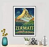 Zermatt, Suisse Vintage Travel Poster - Poster Paper,