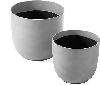 Cooper & Co. Massima Round Planter Pots, Set of 2, 35 cm & 28 cm, Slab Grey