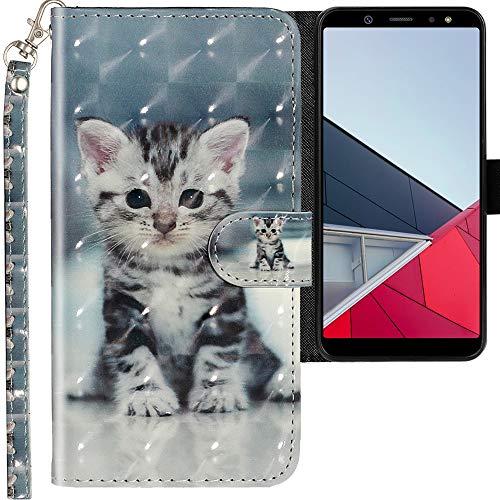 CLM-Tech Cover Compatibile con Samsung Galaxy A6 Plus 2018, Sintetica Pelle Custodia, Portafoglio con Funzione Supporto e Slots, Piccolo Gatto
