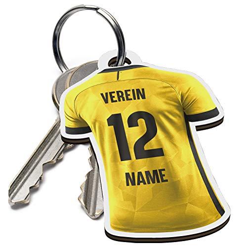 Elbeffekt Schlüsselanhänger für Dortmund Fans aus Holz - personalisierbares Geschenk - schenke Dein individuellen Dortmund Fanartikel aus Echtholz