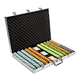 Brybelly 1,000 Ct Monte Carlo Poker Set - 14g Clay Composite Chips with Aluminum Case, Playing Cards, & Dealer Button