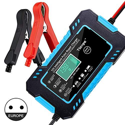 N/AA Cargador de batería de Coche,12V/6A Cargador Automático de Pantalla LCD Cargador de Batería de Coche Enchufe de la UE, Múltiples Protecciones para Coche/Camión/ATV/RV/Moto (Azul)