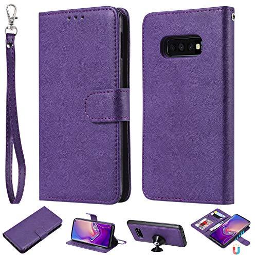Yobby Brieftasche Hülle für Samsung Galaxy S10 Plus,Lila Geldbörse Handyhülle 2 in 1 Abnehmbar Magnetisch Auto Leder Vegan Flipcase Stand Kartenhalter Handschlaufe Schutztasche