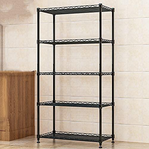 LYYJF Estantería de Cocina con 5 Niveles Estantes Auxilar Estantes de Pie para Cocina Dormitorio Salon Vintage Negro 75 x35 x158 cm,Negro