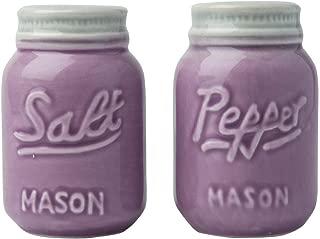 Comfify Vintage Mason Jar Salt & Pepper Shakers Adorable Decorative Mason Jar Decor for Vintage, Rustic, Shabby Chic - Sturdy Ceramic in Purple - 3.5 oz. Cap.