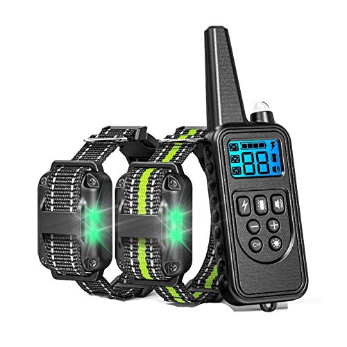 WWZL Hundetraining Halsband, Automatische Kettenbindung mit LED-Licht Kragen Wasserdicht, Vibration, Piepton, Sicherer, Schützen Sie Ihren Hund,2 Collars